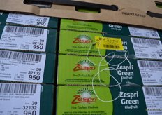 Zespri greens in the cold storage with Xsense tag to monitor the temperature.