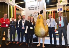 The Belgium VLAME-booth. Exporteurs Rotom, D&G Fruit, Vanco, Bel'Export, Calsa en DSF make promotion for Conference pears