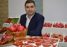Pomegranate specialist, Mars FK LTD, Aleksander Treyakov supplies six varieties of this product. In two years time, this company want to supply juice concentrates and seed oil to the industry. They grow their product on 420 hectare in the Kurdamir region, in central Azerbaizjan, where the climate will well-suited for pomegranates.