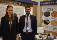 Interfruit Holand from Dubai. Julia Butko and Saber Noerzay. Saber studied in the Netherlands, thus the name of the company. The company specialises in nuts and dried fruit. Cashews, almonds, pistachios and dates are their most important products.