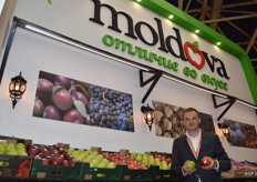 Moldova Fruit represents 170 companies who trade in fresh and processed fruit and vegetables. 14 businesses were profiled at the trade fair. Vadim Codreanu is Moldova Fruit's Marketing Director.